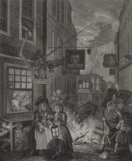 Print by William Hogarth: Four Times of the Day, Night, represented by Childs Gallery