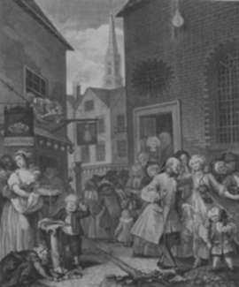 Print by William Hogarth: Four Times of the Day, Noon, represented by Childs Gallery
