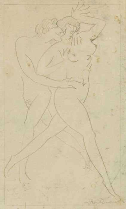 Drawing by William Hunt Diederich: Nymph and Satyr, represented by Childs Gallery