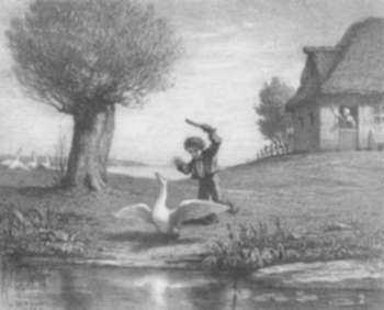 Print by William Morris Hunt: Boy with a Goose, represented by Childs Gallery