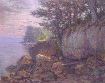 Pastel by William Partridge Burpee: [Rocky Coast with Fir Trees], represented by Childs Gallery