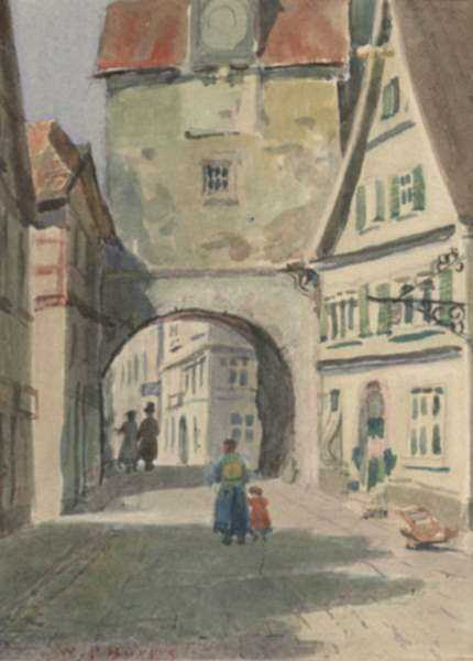 Watercolor by William Partridge Burpee: An Old Gate, Rothenberg, Germany, represented by Childs Gallery