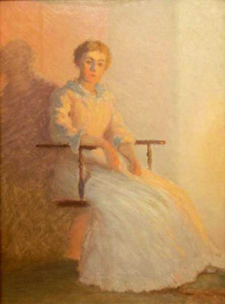Painting by William Partridge Burpee: By the Glow of the Firelight, represented by Childs Gallery