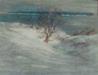 Pastel by William Partridge Burpee: Coastal Winter, represented by Childs Gallery