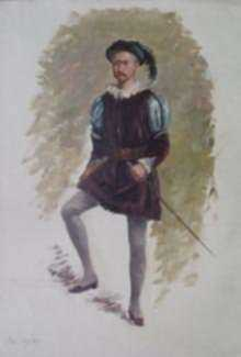 Painting by William Partridge Burpee: Costumed Male Figure, represented by Childs Gallery