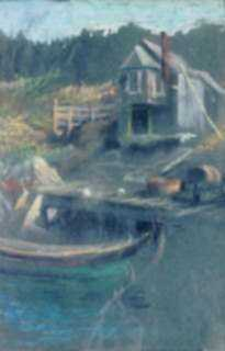 Pastel by William Partridge Burpee: Dory, dock and house, represented by Childs Gallery