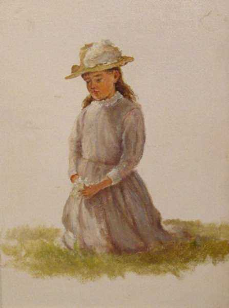 Painting by William Partridge Burpee: Gathering a Bouquet, represented by Childs Gallery