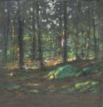 Pastel by William Partridge Burpee: Glimpse of Sunlight in the Woods, represented by Childs Gallery