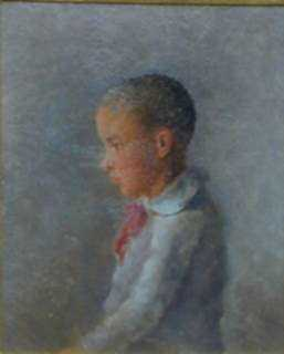 Painting by William Partridge Burpee: Half-Length portrait of a boy in Profile, represented by Childs Gallery