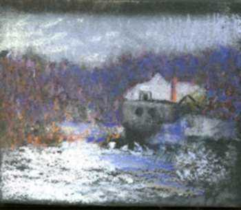 Pastel by William Partridge Burpee: Ice Flows, represented by Childs Gallery