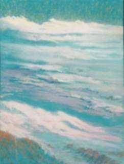 Pastel by William Partridge Burpee: Pink and purple sky and water blending together [Shoreline S, represented by Childs Gallery