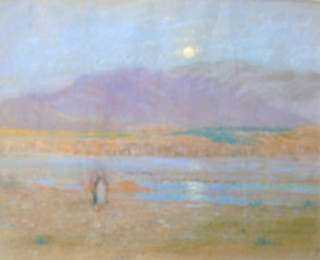 Pastel by William Partridge Burpee: Sunset in Biskra, represented by Childs Gallery