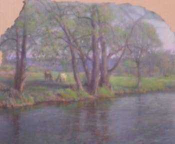 Pastel by William Partridge Burpee: Willows Bordering A Stream, represented by Childs Gallery