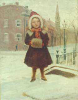 Painting by William Partridge Burpee: Winter Street, South End, represented by Childs Gallery