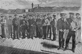 "Print by Winslow Homer: Crew of the United States Steam Sloop - ""Colorado"" Shipped a, represented by Childs Gallery"