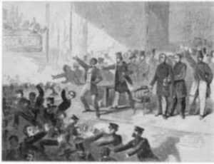 Print by Winslow Homer: Expulsion of Negros and Abolitionists from Tremont Temple, B, represented by Childs Gallery