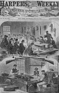 Print by Winslow Homer: Filling Cartridges at the United States Arsenal at Watertown, represented by Childs Gallery