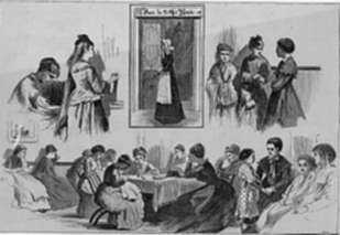Print by Winslow Homer: New York Charities- St. Barnabas House, 304 Mulberry Street, represented by Childs Gallery