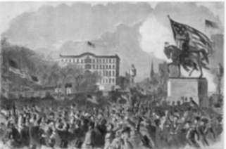 Print by Winslow Homer: The Great Meeting in Union Square, New York, to Support the , represented by Childs Gallery