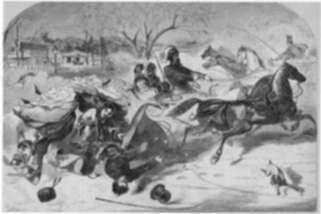 Print by Winslow Homer: The Sleighing Season--The Upset, represented by Childs Gallery